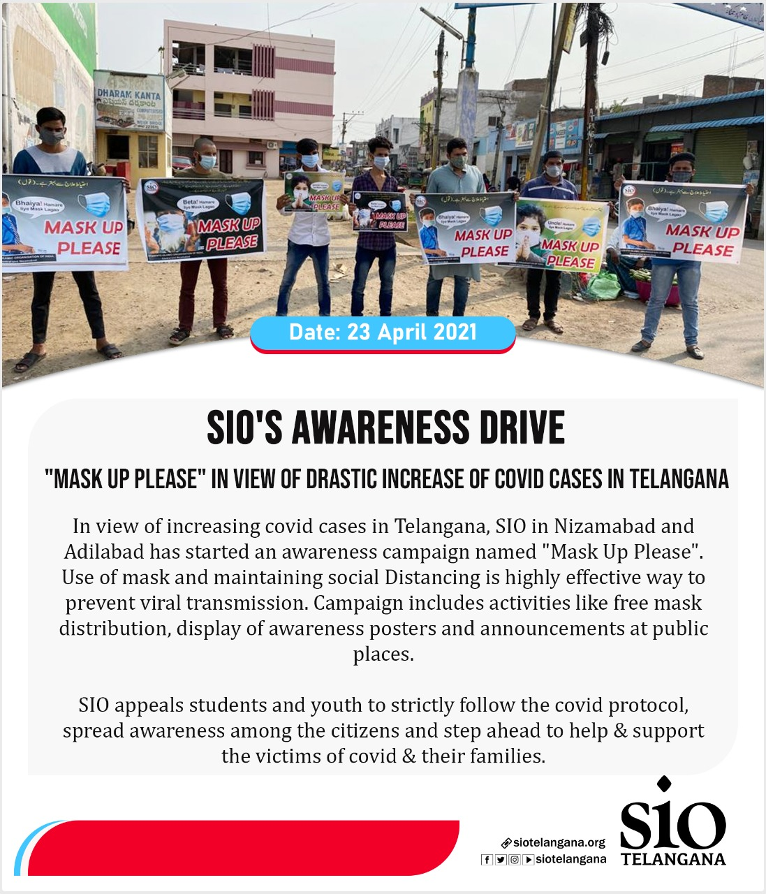 """SIO's awareness drive """"MASK UP PLEASE"""" in view of drastic increase of Covid cases in TS"""